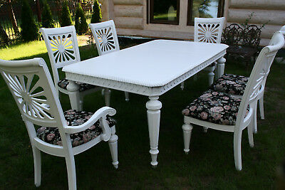 Shabby Chic Dining Table with 6 chairs French - Fully restored Professionally
