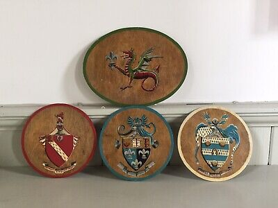 4 X Vintage Wood With Hand Painted Heraldic Crest Shields Plaques