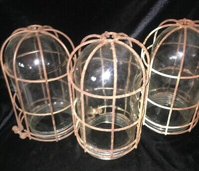 Set Of 3 Antique Glass Cage Lights Steampunk Old Factory