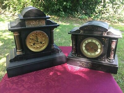 ** A Pair Of Victorian French Slate Marble Clocks **