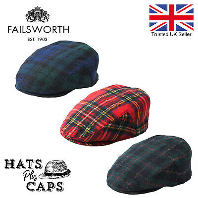 Failsworth Tartan Flat Cap British Made Tweed Scottish Bunnet Black Watch Royal