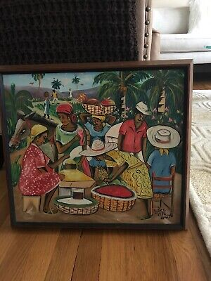 Vintage Circa 1970 Original Oil Painting Haitian Marketplace;Signed 16X18 Framed
