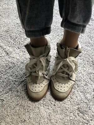 e665019f14 Isabel Marant Lace Up Bobby Sneakers Size Uk3/ EU 36 White Leather And Suede