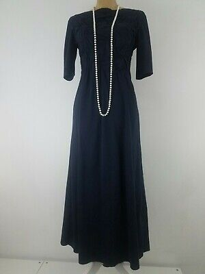 0585ea44351cc New COS Women Dress XS Navy Cotton Jersey Maxi Long Half Sleeve Ruched