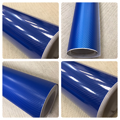 3D 4D 7 BLUE Carbon Fiber Vinyl Film Wrap DIY Waterproof Auto car 30cm x 1.52m