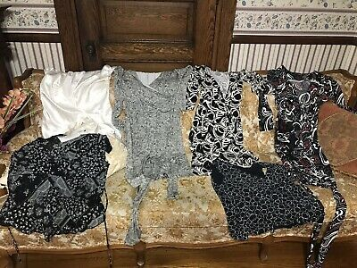 Assorted Brands & Prints 6 Pc Wrap Dress & Top Lot  Size LG Large Pre-Owned Nice