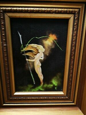 """Native Painting of Naked Beauty oil on board Framed 10""""x 12"""" Unknown Artist"""