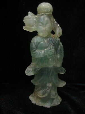 Antique 19Th C Carved Chinese Fluorite Figure Kwanyin 6""