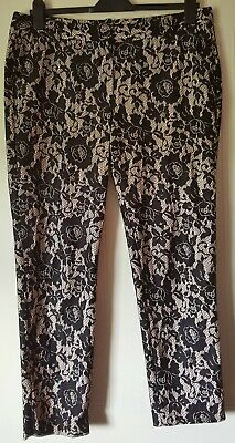 Women Plus Size Lace Insert Flared Trouser Hand MADE IN UK SIZE 8-34