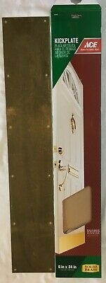 "Reclaimed Salvaged Vintage Brass Bumper Kickplate for Door w/ Hardware ~ 34""x 6"""