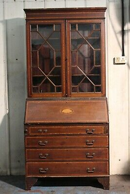 Edwardian inlaid Bureau Bookcase