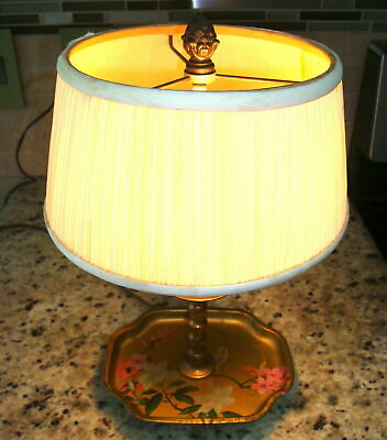 "14"" Candlestick Lamp Toleware Tray Tole Floral Bird Gold Metal Desk Light Shade"