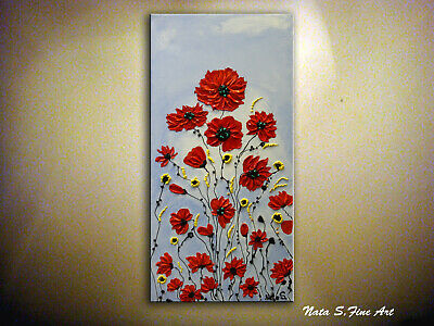 Abstract Flower Painting, Palette Knife Art, Impasto Floral Art, Red Flowers Art