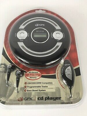 GPX Portable Compact Disc CD Player CDP3106REM 60-sec Anti-Skip Remote New Seald