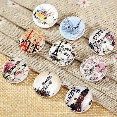 50x Eiffel Tower Pattern Wooden Buttons 2 Holes Scrapbooking Sewing Knit Crafts