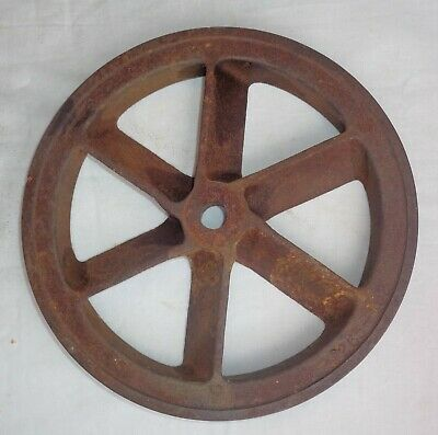 "Antique Primitive Heavy Cast Iron Industrial Wheel Steampunk 10"" Diameter"