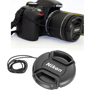 52 mm Snap-on Center Pinch Lens Front Cap Cover + Rope For Nikon Digital Camera