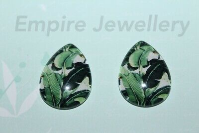 2 x Tropical Leaves 25x18mm TEARDROP Glass Dome Cabochon Palm Monstera