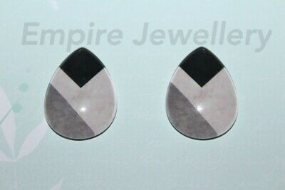2 x Colour Block Pattern 25x18mm TEARDROP Glass Dome Cabochon Geometric
