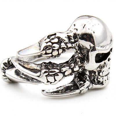 Dragon Claw Skull Skeleton Stainless Steel Men's Gothic Punk Silver Ring