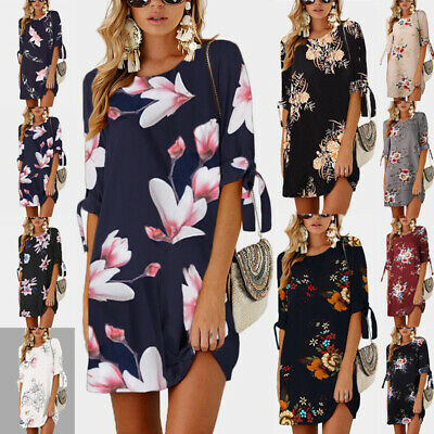 Plus Size UK 6-22 Women Holiday Long Tops Ladies Summer Floral Beach Party Dress