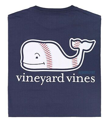 "NWT Vineyard Vines Men SS Whale Pocket Crew Tee T-Shirt ""BASEBELL WHALE"""