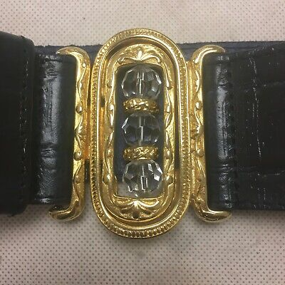 Vintage 1980s Navy Blue Woman's Leather Belt With Gold Made in Italy