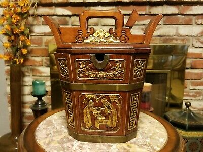 19th Century Chinese 24k Layered Wooden Basket with Official Emperor Seal