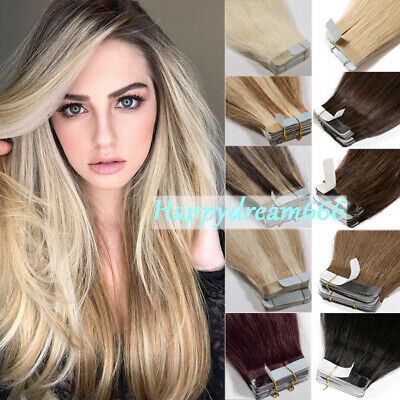 """Tape in Hair Extensions 100% Remy Human Hair 16"""" 18"""" 20"""" 22"""" Seamless Reusable"""