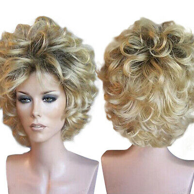 Lady Blonde Black Mixed Cosplay Party Wigs Women Full Short Curly Wavy Hair Wig