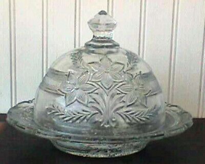 *Eapg Narcissus Spray Butter Dish, Indiana, 1915 B8-G