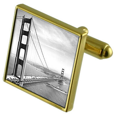 San Francisco Golden Gate Bridge Gold-Tone Cufflinks Crystal Tie Clip Gift Set