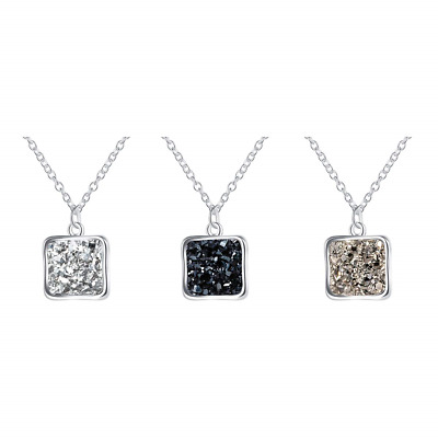 MissNity Rainbow Druzy Necklace with Square Pendant Silver Plated BFF Necklace 3