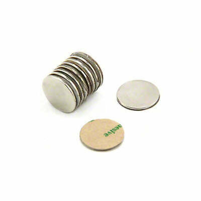20X Strong 10mm x 1mm Self Adhesive Disc Magnets | Neodymium Magnet Fridge Craft