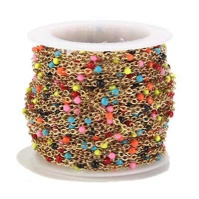 1 meter/lot Gold Plated Stainless Steel Colorful Ball Chain Necklace Findings