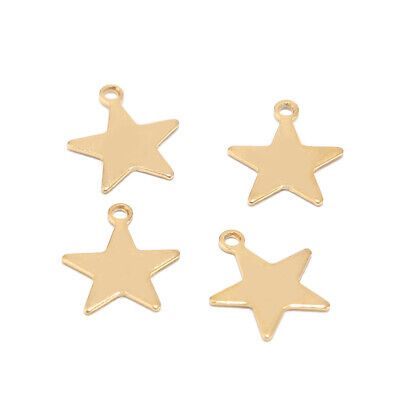 30pcs/lot Gold Plated Stainless Steel Star Charms DIY Jewelry Findings Pendents