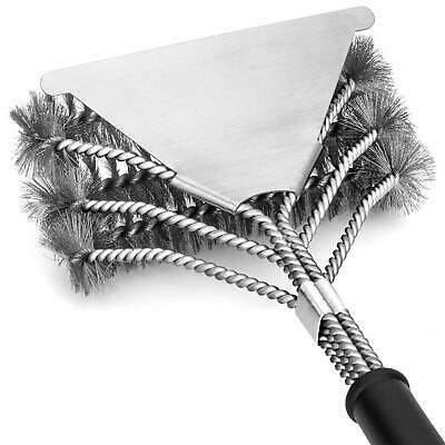 BBQ Grill Brush Scrubber Barbecue Cleaning Tool Triple Stainless Steel Wire