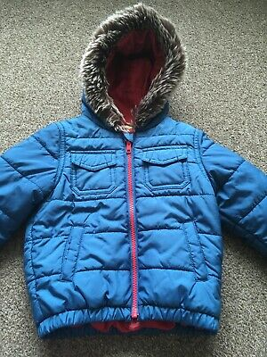 Boys John Lewis Blue Hooded Jacket Coat Age 12-18 Months With Dinosaur Lining