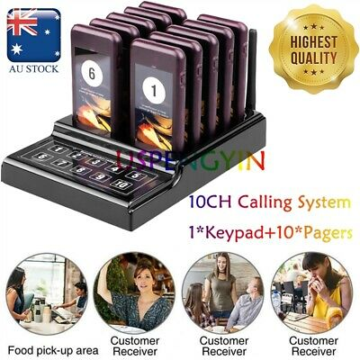 Wireless Restaurant Guest Calling Paging Queuing System 1*Transmitter+10*Pagers