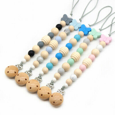 Wood Beads Pacifier Clips Dummy Clip Holder Pacifier Clips Cute Soother Chains