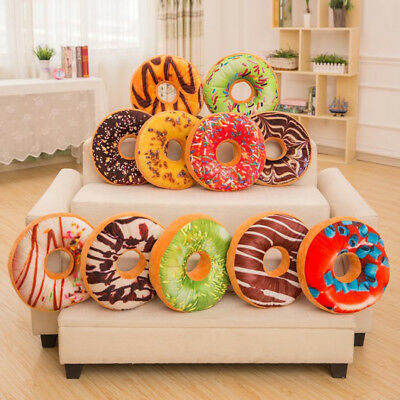 Soft Plush Pillow Stuffed Seat Pad Sweet Donut Foods Cushion Cover Case ToysCA