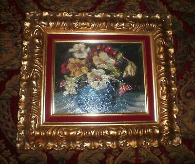 Lovely Vintage Floral Still Life In Stunning Gold Gilt Frame Oil Painting