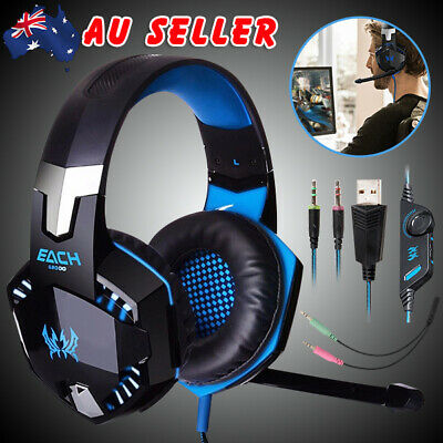 Gaming Headset MIC LED Stereo Headphone for PC Mac Laptop PS4 Xbox One 360 Blue