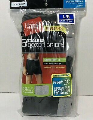 "New Hanes 5pc Tag-less Boxer Briefs Fresh IQ Sz L 36-38"" Comfort-soft Waistband"