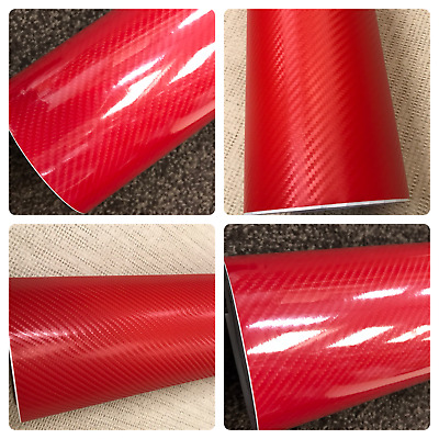 3D 4D 7 RED Carbon Fiber Vinyl Film Wrap DIY Auto Motorcycle Car (30cm x 1.52m)