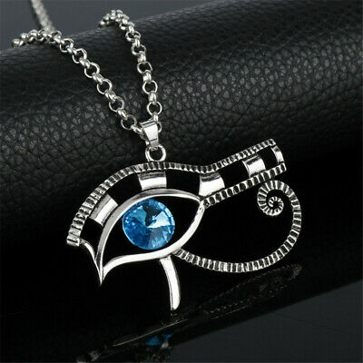 The Eye of Horus Necklace Egyptian Silver Amulet Pendant Chain for Women Men