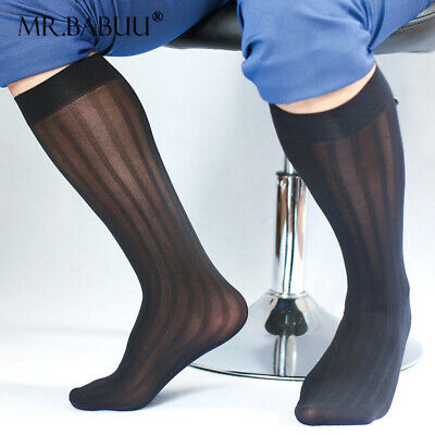Hot New 2Pairs Pack Men's Sexy Knee High Long Wide Striped Casual Sheer Socks