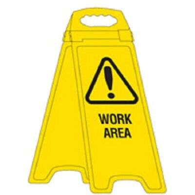 Brady DELUXE WARNING SIGNS FLOOR STAND 670mm Imprint 'Work Area' YELLOW/ BLACK