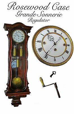 Victorian Rosewood Triple Weight Grande Sonnerie Vienna Regulator Wall Clock