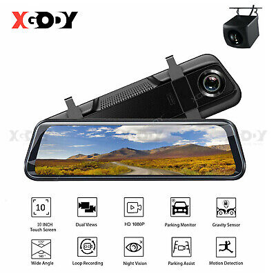Lenovo 10'' Stream Media Dual Lens FHD 1080P Dash Cam Car DVR Rearview Mirror